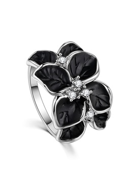 Black Flower Oil Drip Metal Diamante Vintage Rings