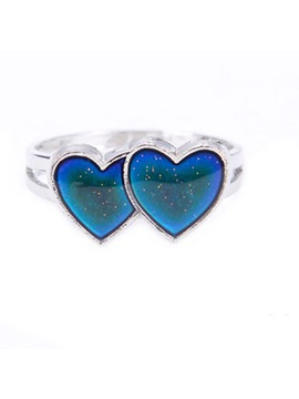 Double Hearts Shaped Titanium Steel Ringent Adjustable Temperature Couples Color Changeable Mood Rings