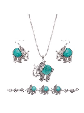Elephant Pattern Turquoise Metal Silver Chain Ethnic Jewelry Sets