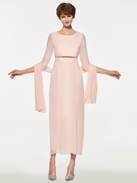 Column Tea Length Mother Of The Bride Dress With Shawl
