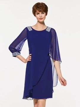 Scoop Neck Beaded Column Mother Of The Bride Dress With Sleeves