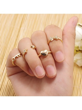 Stars Hearts Keys Bowknots Opened Diamante Metal Korean Joint Rings