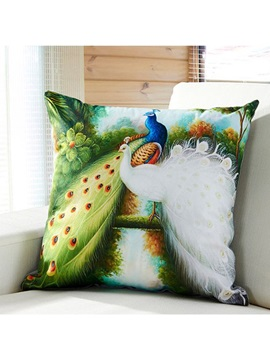 Gorgeous Green And White Peacock Digital Print Throw Pillow