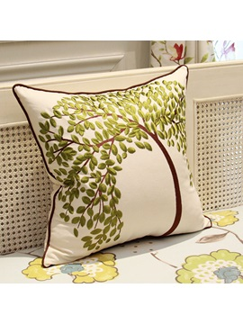 Elegant Tree Printing Linen Throw Pillow For Home Decoration