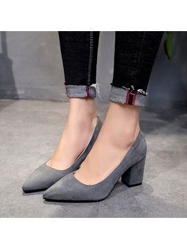 Faux Suede Pointed Toe Slip On Womens Pumps