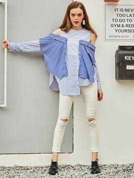 Color Block Stripe Cold Shoulder Blouse