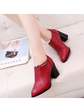 Pu Pointed Toe Rhinestone Back Zip Womens Boots