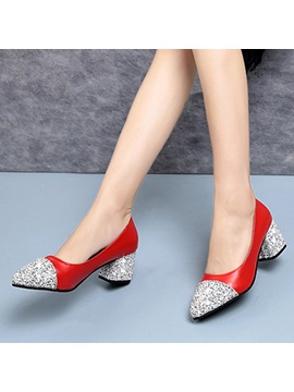Pu Pointed Toe Sequin Contrast Color Womens Pumps
