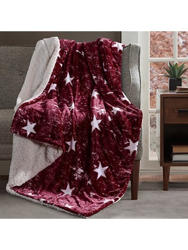 Decorative Concise Star Print Burgundy Soft Flannel Blanket