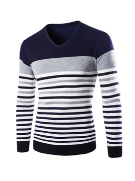 Stripe Mosaic Color V Neck Long Sleeve Mens Sweaters