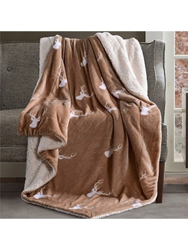 Decorative Soft Reindeer Print Camel Flannel Blanket