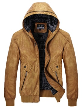 Solid Color Hooded Leather Zipper Slim Warm Mens Jacket