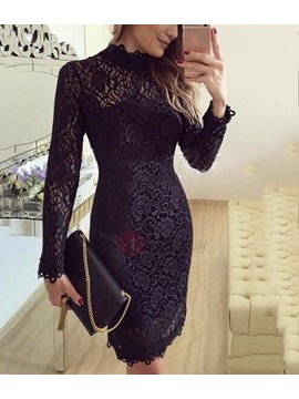 Long Sleeves Lace Bodycon Womens Dress