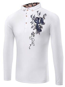 Floral Printing Lapel Long Sleeve Mens Shirts