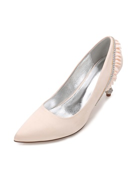 Silk Fabric Rhinestone Pointed Toe Stiletto Wedding Shoes