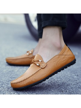 Pu Slip On Rubber Round Toe Mens Casual Shoes