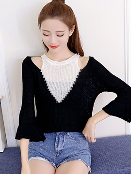 Color Blcok Bell Sleeve Sweater