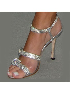 Striped Strass High Heel Womens Sandal