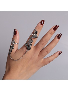 Rose Carving Metal Chain Retro Adjustable Conjoined Rings