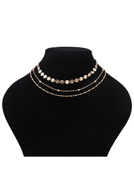 Beads Copper Jack Chain Multilayer Alloy Vintage Choker Necklaces