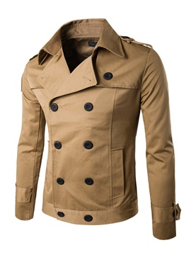 Double Breasted Solid Color Lapel Long Sleeve Mens Jacket