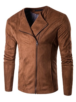 Solid Color Lapel Zipper Long Sleeve Mens Jacket