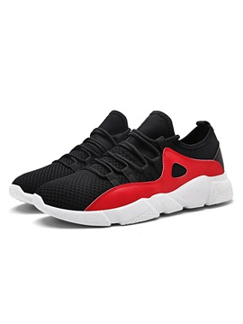Mesh Lace Up Round Toe Patchwork Mens Running Sneakers