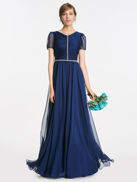 Vintage V Neck Short Sleeves Beading Long Bridesmaid Dress