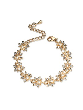 Gold Tone Diamante Butterfly Shape Alloy Chain Bracelets Bangles