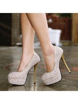 Glitter Slip On Round Toe Platform Banquet Shoes