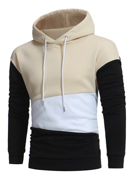 Hooded Patchwork Color Block Pullover Mens Hoodie