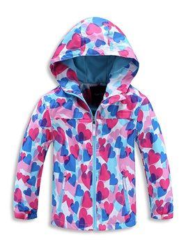 Fashion Heart Printed Color Block Zipper Girls Coat