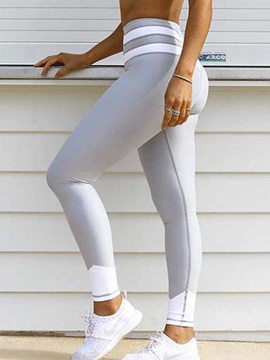 Breathable Contrast Color Stripe Female Workout Athletic Leggings