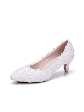 Pu Pointed Toe Appliques Beads Slip On Wedding Shoes