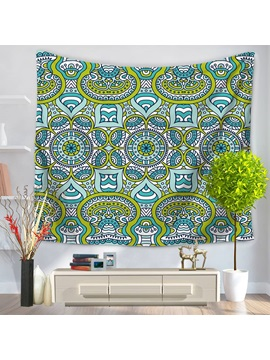 Green And Blue Abstract Mandala Indian Ethnic Style Decorative Hanging Wall Tapestry