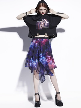 A Line Chiffon Knee Length Printed Skirt