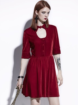 Fuchsia Half Sleeve Hollow Velvet Womens Skater Dress