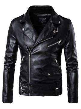 Zipper Lapel Solid Color Slim Leather Pockets Mens Jacket