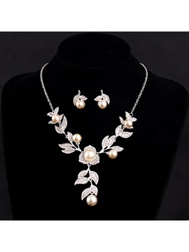 Pearl Inlaid Leaves Shaped Diamante Alloy Tassel Chain Necklace Wedding Jewelry Sets