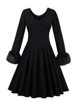 Vogue Black Long Sleeve Round Neck Skater Dress