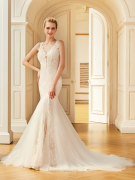 Glamorous Straps Lace Mermaid Wedding Dress