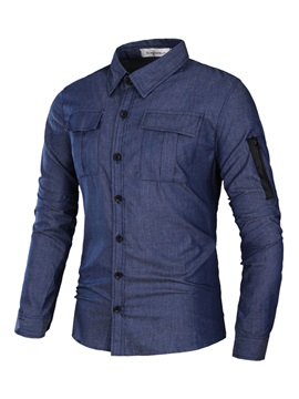 Solid Color Lapel Pockets Long Sleeve Zip Mens Casual Shirt
