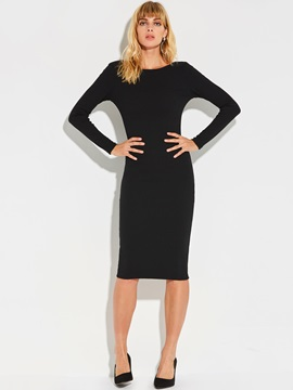 Unique Solid Color Long Sleeve Zipper Bodycon Dress
