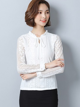 Slim Plain Lace Crochet Lace Up Blouse