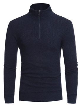 Semi Zipper Solid Color Stand Collar Slim Warm Mens Sweater