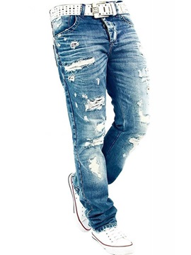 Holes Straight Baggy Mill White Mens Jean