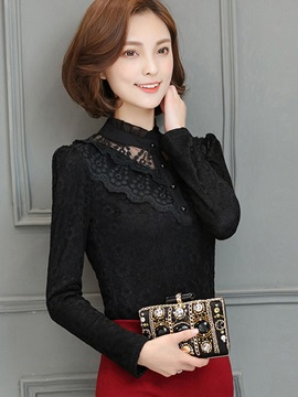 Slim Stand Collar Lace Crochet Blouse