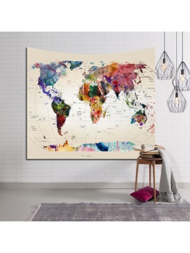 Multi Watercolors World Map Painting Decorative Hanging Wall Tapestry