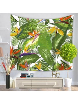 Tropical Wild Palm Green Leaves Print Exotic Style Decorative Hanging Wall Tapestry
