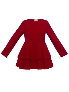Christmas Red Long Sleeve Round Neck Blouse